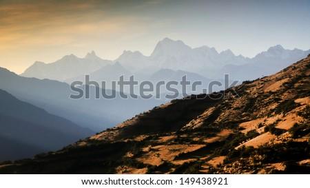 Alpine landscape in Cordiliera Huayhuash, Peru, South America - stock photo