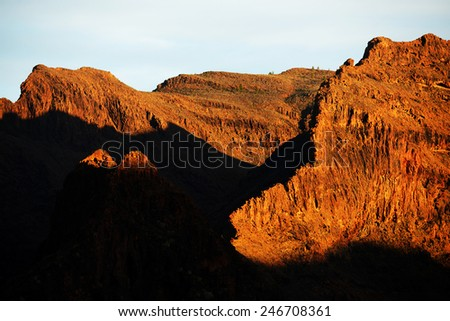 Alpine landscape in Parque Natural de Pilancones, Gran Canaria, Spain  - stock photo