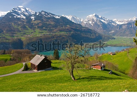 Alpine landscape in spring (Walensee, Switzerland) - stock photo