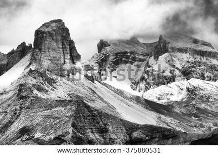 Alpine landscape in the Dolomites, Italy, Europe - stock photo