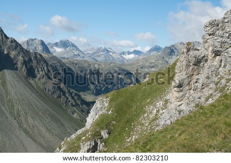 Alpine landscape in the valley of Engadine, switzerland - stock photo