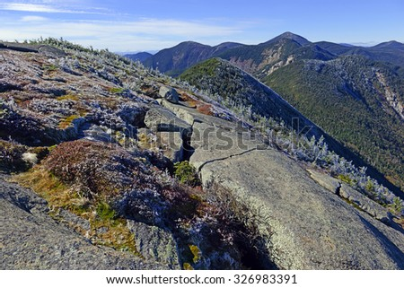 "Alpine landscape near summit on a climb of Gothics Mountain, an Adirondack ""46er"", in the Adirondack Mountains, New York - stock photo"