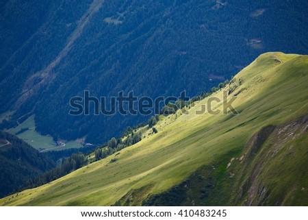 Alpine landscape with green fields - stock photo