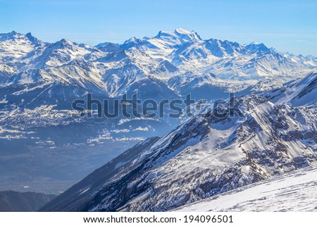Alpine landscape with peaks covered by snow