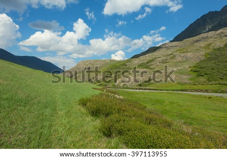 Alpine meadow in the high mountains in summer - stock photo