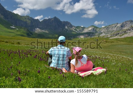 Alpine meadow. Melchsee-Frutt, Switzerland  - stock photo