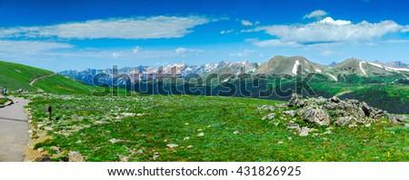 Alpine meadow panorama.  Rocky Mountain National Park Colorado, USA.  High Resolution. - stock photo