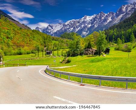 Alpine meadows in the Alps, Switzerland. Geolocation 46.340084,9.564478 - stock photo