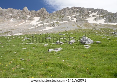 Alpine meadows under the rocky summits of Vardousia mountain, central Greece