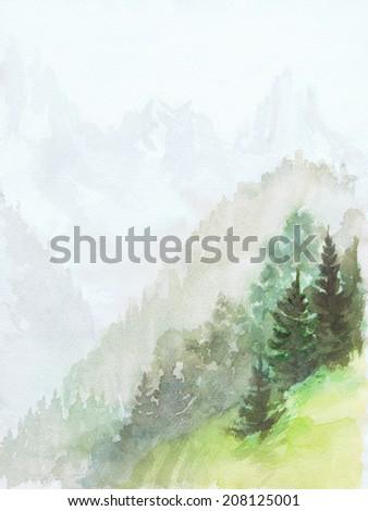 Alpine motif painting in watercolor  - stock photo