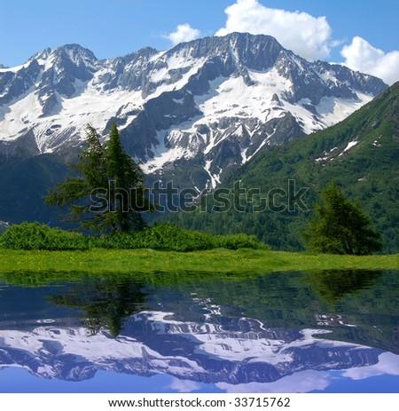 Alpine mountain lake - stock photo
