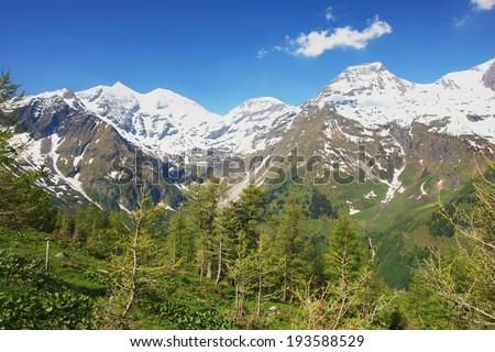 Alpine mountain road in Tauern National Park, Austrian Alps - stock photo
