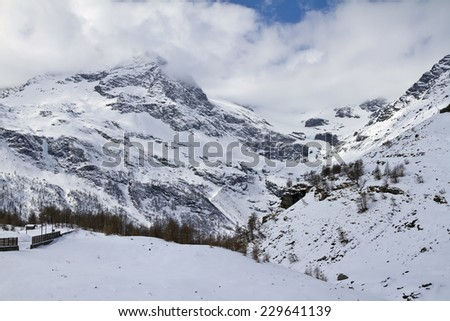 Alpine panorama near Alp Grum railway station  - stock photo