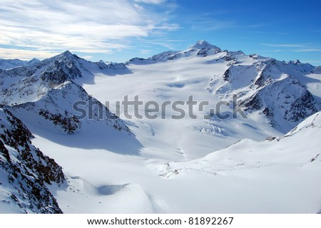 Alpine peaks in ski resort of Solden, Austria - stock photo