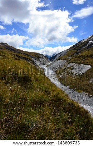 Alpine River and Meadow - stock photo