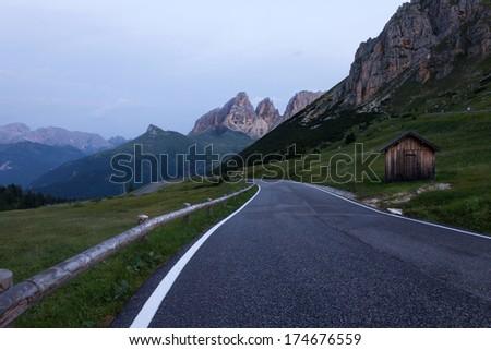Alpine road in Dolomites, Italy - stock photo