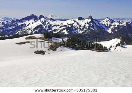 Alpine scene in the North Cascades Mountains, Washington State, USA - stock photo