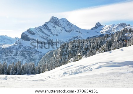 Alpine scenery. Braunwald, Switzerland - stock photo
