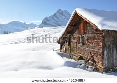 Alpine scenery. Braunwald, Switzerland - stock photo