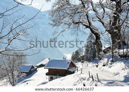 Alpine scenery, Braunwald, Switzerland - stock photo