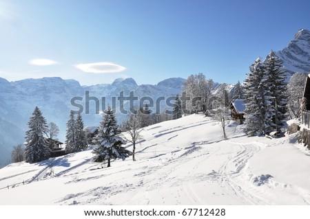 Alpine scenery, Braunwald, Switzerland - stock photo