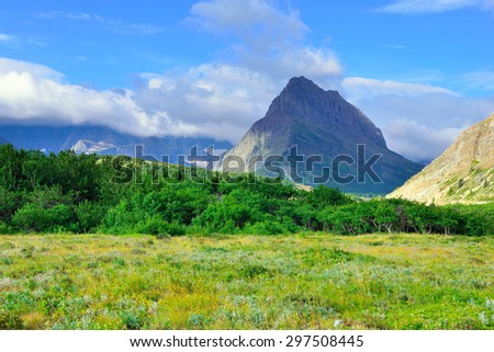 alpine scenery of the Glacier National Park in summer