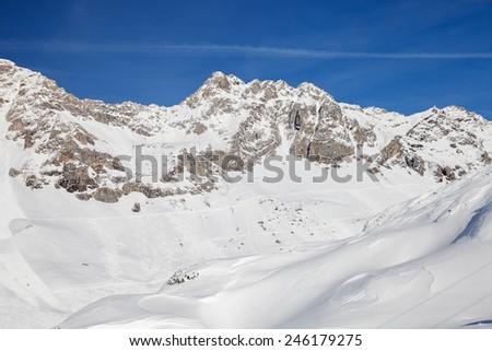 Alpine  skiing resort St. Anton am Arlberg in winter time - stock photo