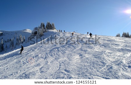 Alpine skiing track - stock photo
