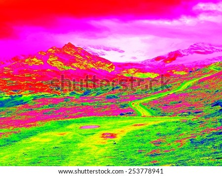 Alpine spring mountain path in infrared photo. Hilly landscape in background. Sunny weather with clear sky above. Amazing thermography colors. - stock photo