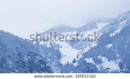 alpine summit and snow  - stock photo