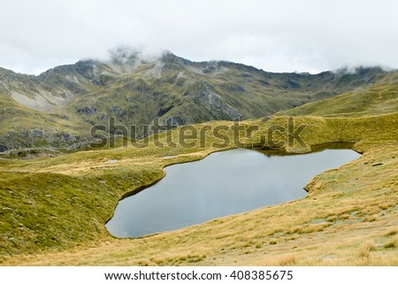 Alpine Tarn on the Lewis Pass Tops Route.  Lewis Pass, Southern Alps, New Zealand - stock photo