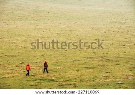Alpine trekking in Mehedinti Mountains, Romania, Europe - stock photo
