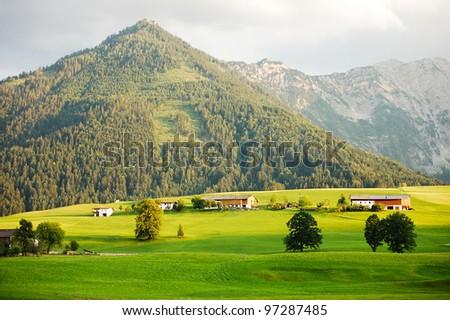 alpine valley - stock photo