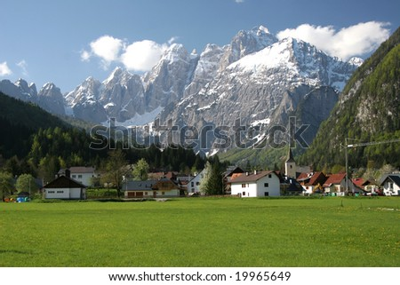 alpine village - stock photo
