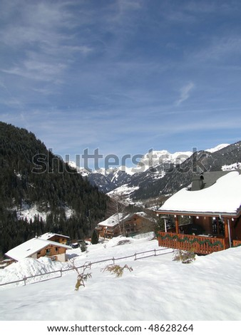 Alpine village and chalets in  Chatel,French Alps, France - stock photo