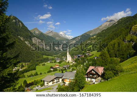 Alpine village Heiligenblut at the foot of the mountain Grossglockner Hohe Tauern national park Austria - stock photo