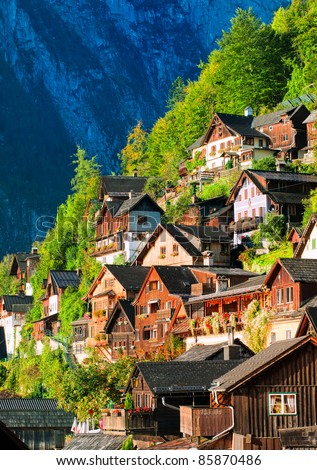 Alpine village in Austria - stock photo