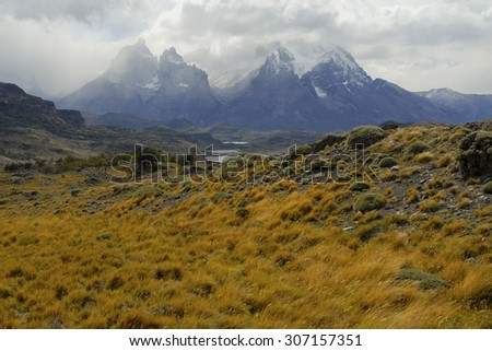 Alpine Wilderness landscape in southern Patagonia, Chile - stock photo