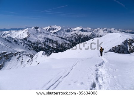 Alpinist on route in West Tatra Mountains