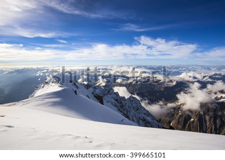 Alpinists climbing the highest mountain in Europe Mont Blanc in Alps France and Italy