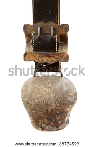 Alps cowbells on white background - stock photo