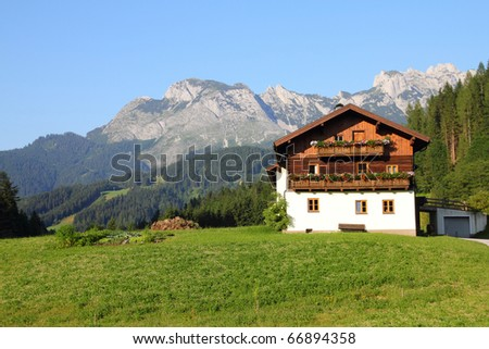 Alps in Austria. Dachstein mountains - Annaberg im Lammertal, alpine town. - stock photo
