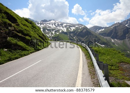 Alps in Austria. Hohe Tauern National Park. Hochalpenstrasse - famous mountain road.