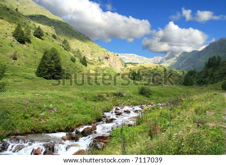 alps italy panorama mountain torrent