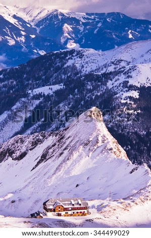 Alps landscape in the morning sun, viewed from the top of Kaprun Glacier in Austrian Alps, Austria - stock photo