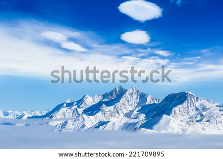 Alps mountain landscape. Beautiful winter landscape - stock photo
