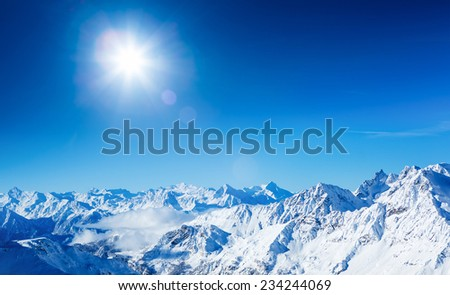 Alps mountain landscape. Beautiful winter landscape on sunny day - stock photo