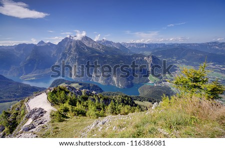 Alps mountains and Konigssee lake in Bavaria, Germany - stock photo