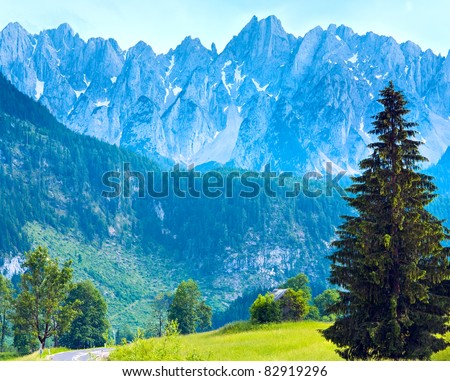 Alps mountains tranquil summer view (Austria, Gosau village outskirts) - stock photo