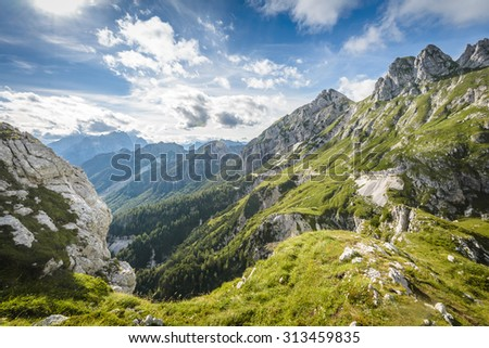 Alps mountains tranquil summer view from Mangart peak. Slovenia. - stock photo